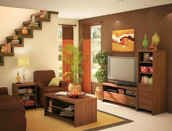 simple living room with unique floating shelf
