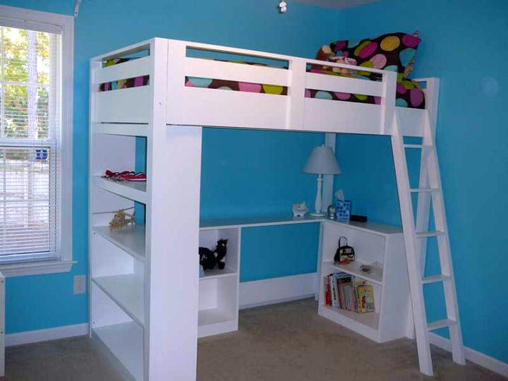 simple minimalist white loft bed with desk