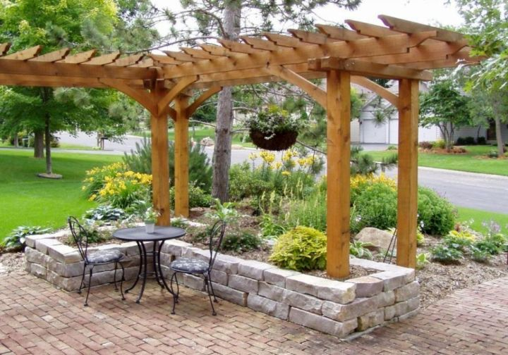 Simple rock garden ideas attached to a pergola for Easy garden design ideas