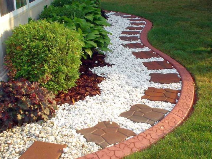 simple rock garden ideas with brick tiles