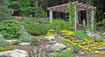 simple rock garden ideas with pergola