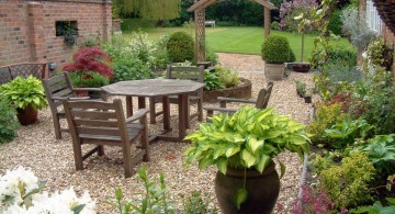 simple rock garden ideas with sitting area