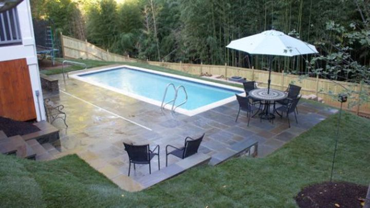simple small pool ideas with stone deck