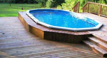 simple small swimming pool design idea with rustic wooden deck