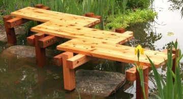 simple small zigzag DIY garden bridge without railings for nice little fish pond