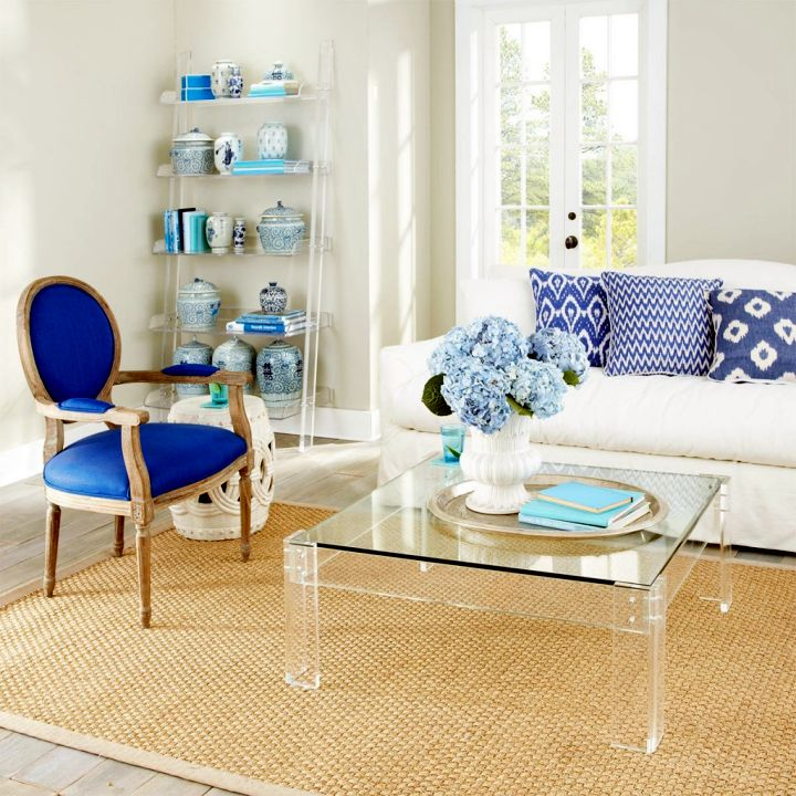 simple square lucite coffee table