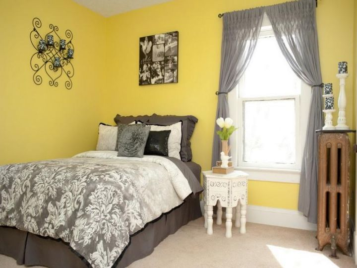 simple yellow gray bedroom