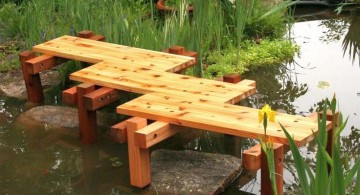 simple zigzag DIY garden bridge without railings