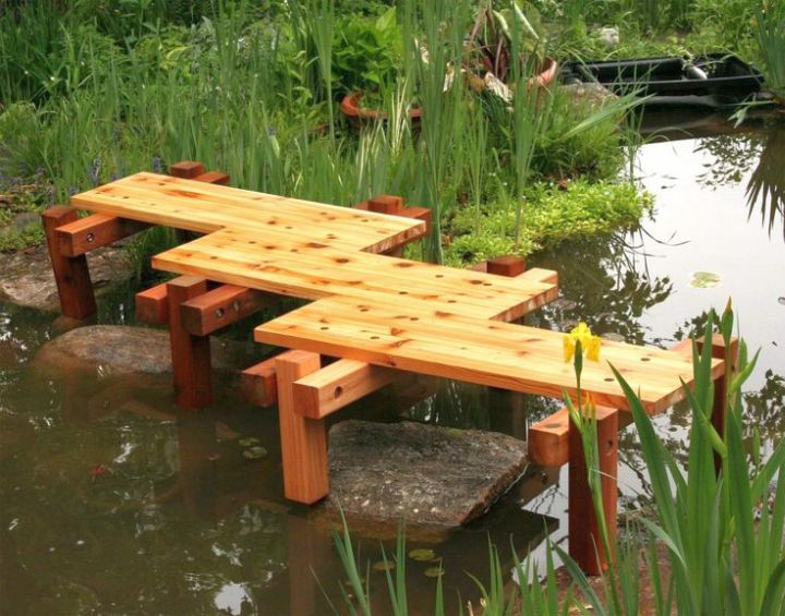 simple zigzag DIY garden bridge without railings