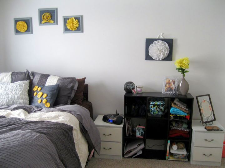 simply cozy yellow gray bedroom
