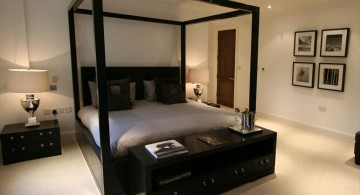 sleek piano black modern four poster bed