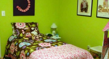small but cozy lime green bedroom