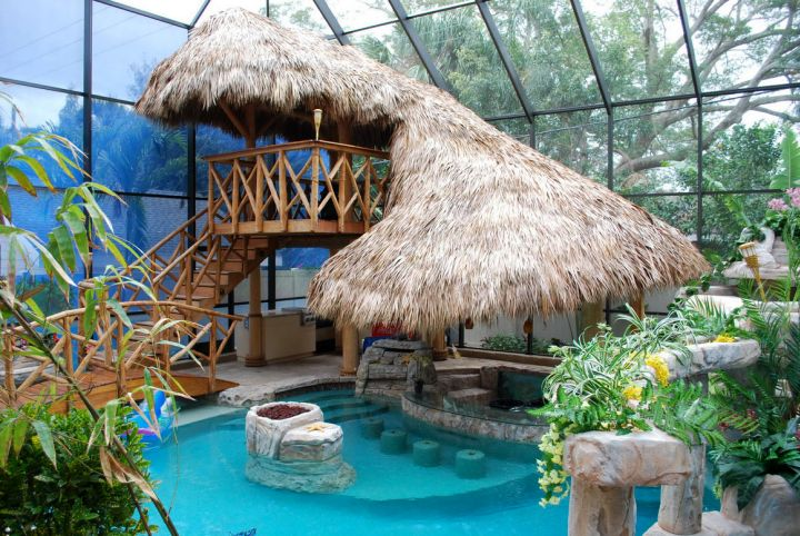 small pool ideas for indoor with tiki hut
