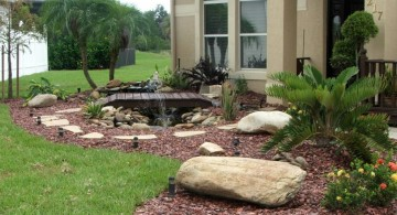 small rock garden designs with bridge and a pond