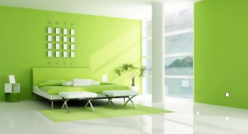 spacious lime green bedroom