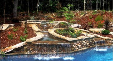 spacious pools with waterfalls