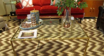 square lucite coffee table with unique linings