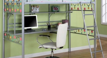 steel framed white loft bed with desk