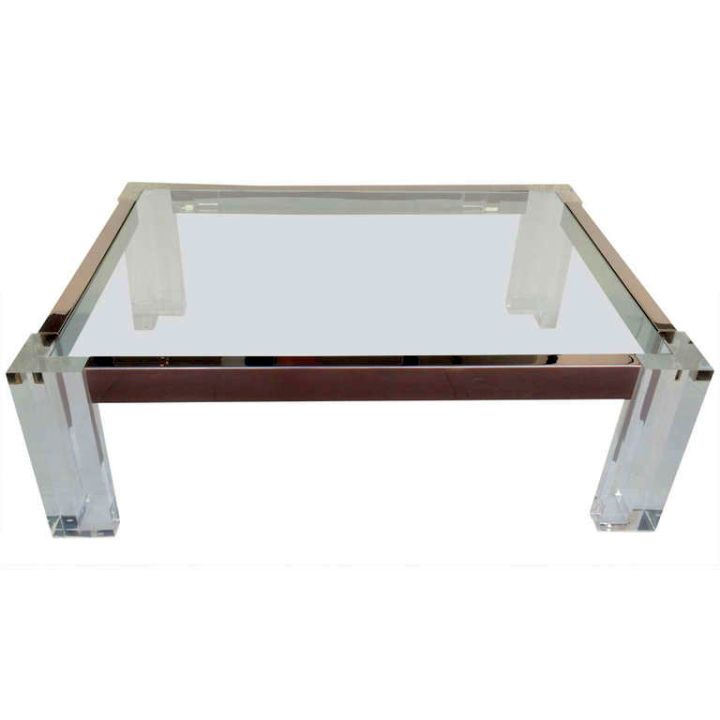 steel lined minimalist acrylic cocktail table