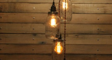 string of mason jars pendant light diy