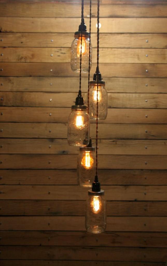 string of mason jars pendant light diy