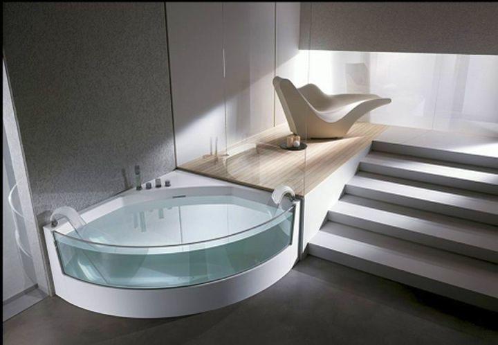 transparent unique tubs for corner