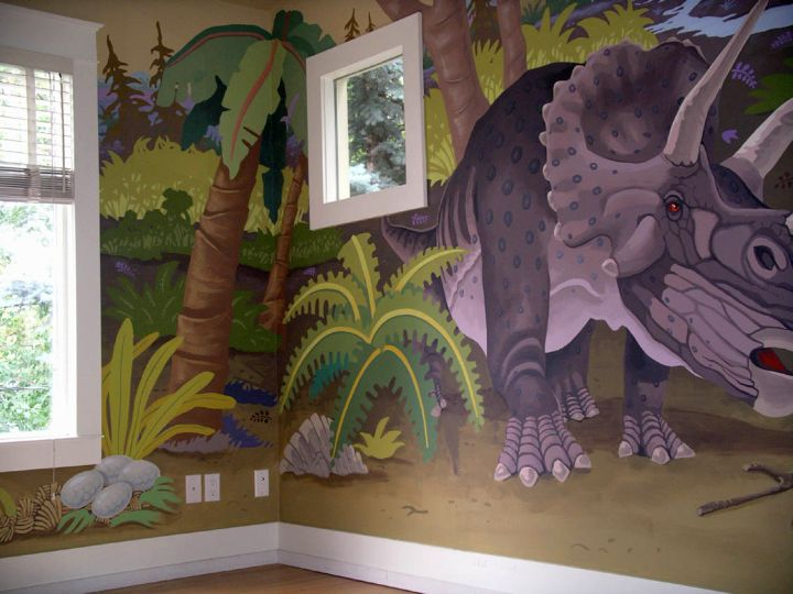 Triceratop dinosaur wallpaper mural for Dinosaur mural wallpaper