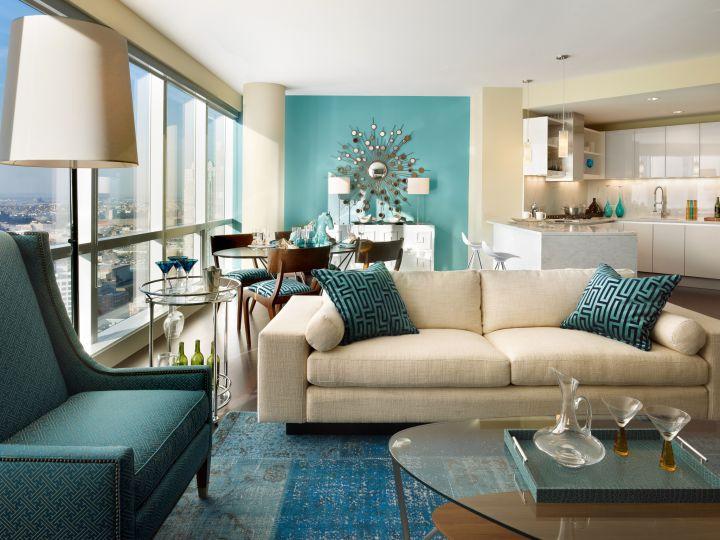 turquoise living room decor rug and sofa