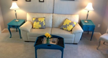 turquoise living room decor table set