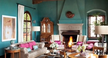 turquoise living room decor with exposed beam ceiling