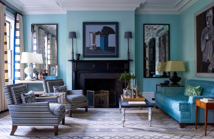 turquoise living room decor with grey shades