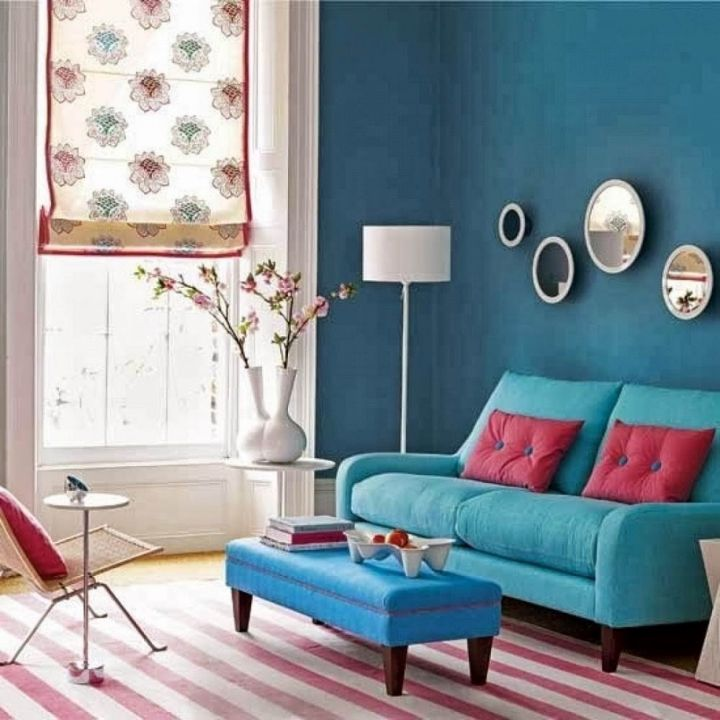 19 gorgeous turquoise living room decorations and designs for Red and blue living room ideas