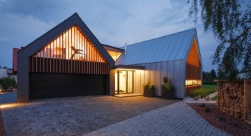 two barn house entrance at night