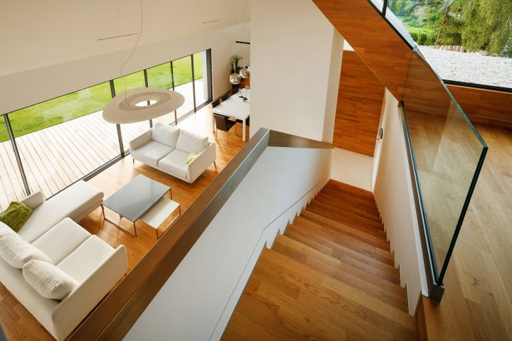 two barn house interior and stairs