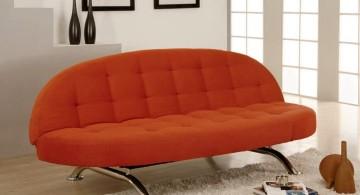 unique sleeper sofa in bright orange