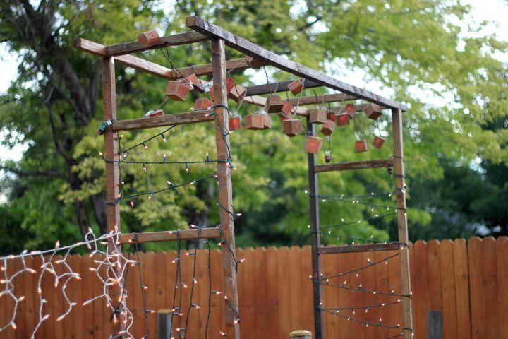 vertical Display ladder for hanging plants