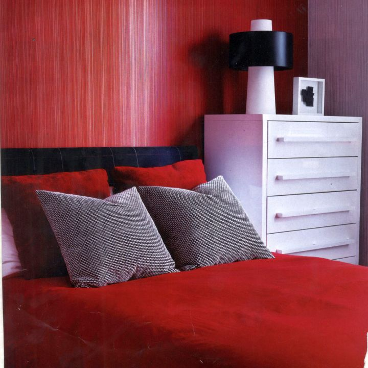 vertical striped red bedroom walls