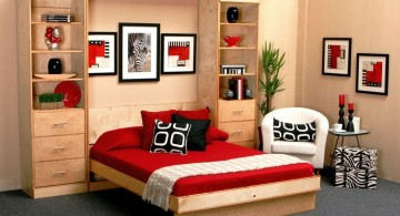 wall bed couch in red black and white