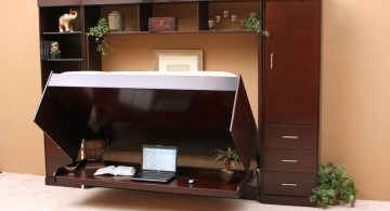 wall bed couch with attached cabinets