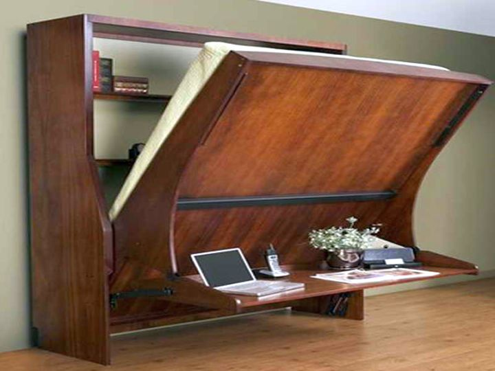 wall bed couch with desk attached