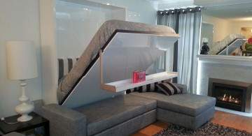 wall bed couch with floating shelf