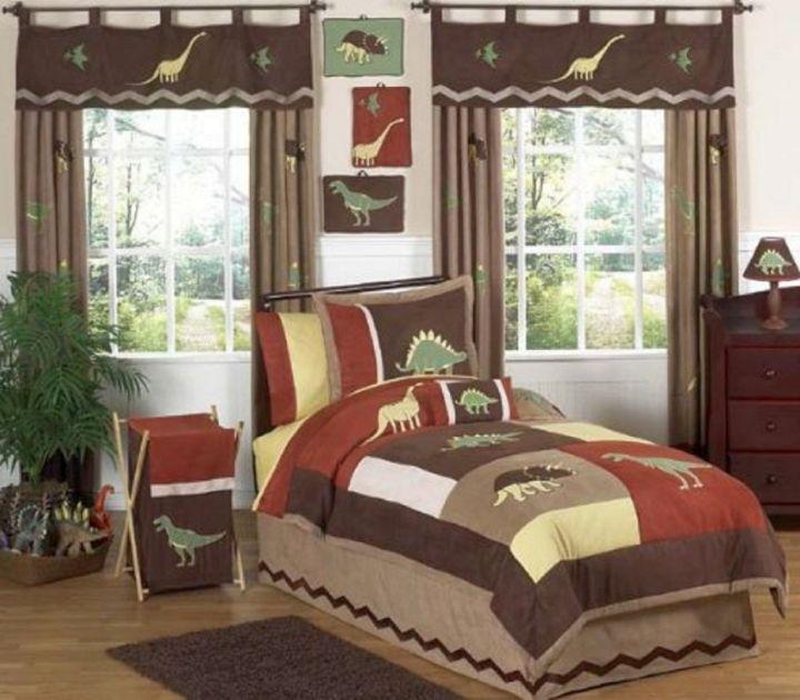 warm colors Dinosaur themed bedroom