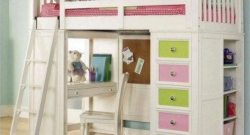 white loft bed with desk and pastel colored shelf