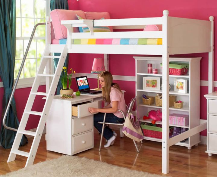 white loft bed with desk and stairs with railing