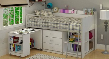 white loft bed with desk and storage