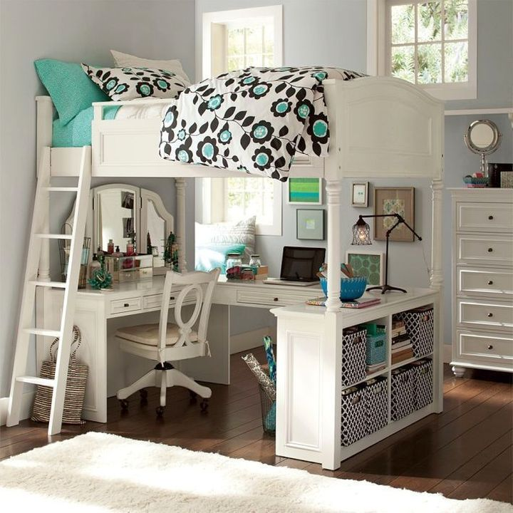 white loft bed with desk for work and vanity