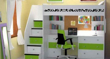 white loft bed with desk in green and white