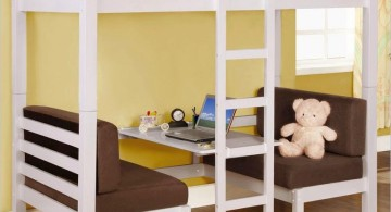 white loft bed with desk with brown sofa