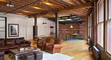 wide and rustic exposed beam ceiling