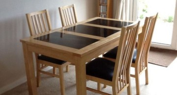 wood and granite dining room table